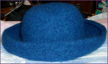 hat after felting, sitting out to dry