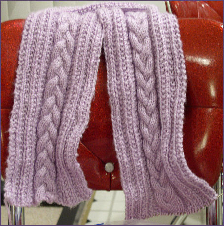 lavender cabled scarf