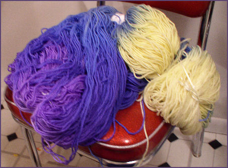blue and yellow yarn hanks