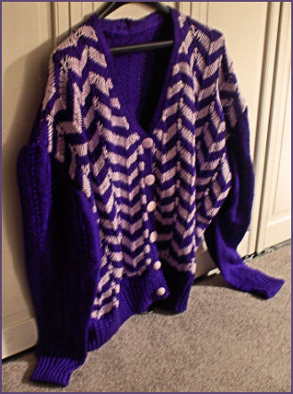 purple two tone cardigan with zigzag stripe pattern