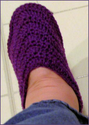 purple crocheted slipper