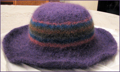 purple hat, felted