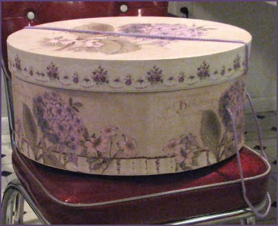 cardboard round hat box with floral print on the outside