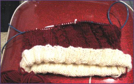 Santa hat in progress