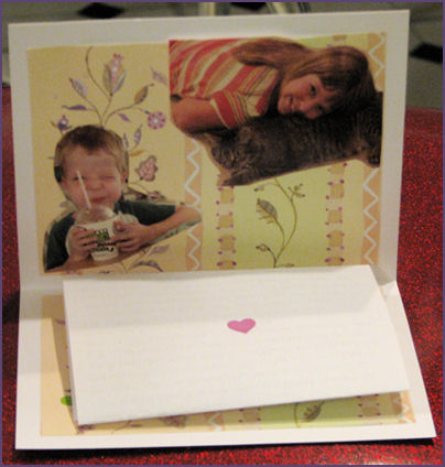 inside of card with photo collage on top and letter at the bottom