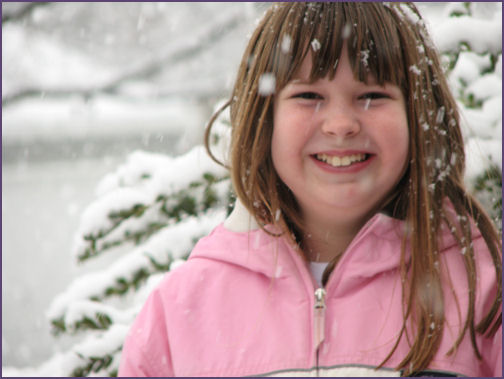 diana portrait with snow falling
