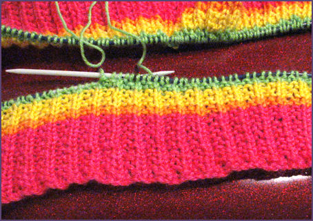 rainbow baby blanket begun in knitting