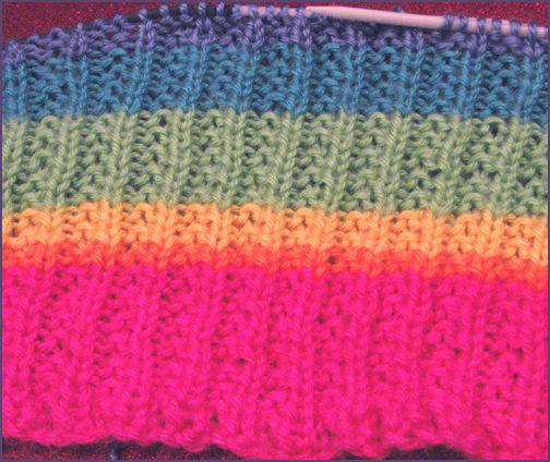 rainbow striped baby blanket in progress