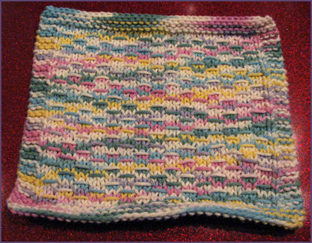 slipped stitch cotton dishrag in pastel rainbow shades