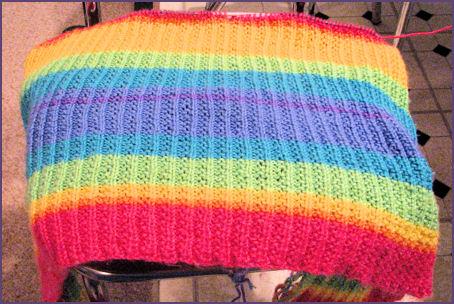 rainbow stripey blanket in progress