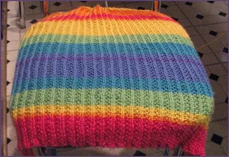rainbow stripey blanket in progress again