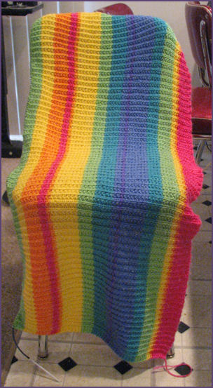 vertical view of striped blanket