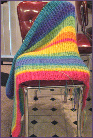 rainbow striped blankie in progress