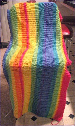 rainbow stripey blanket in progress again