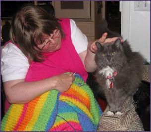 Zoe helps me knit