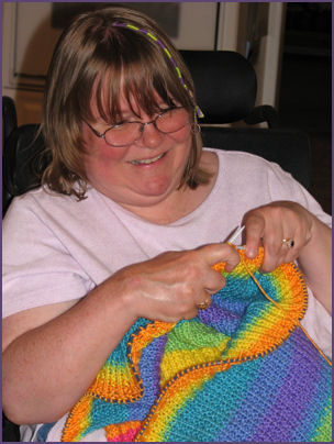 Me working on the baby blanket