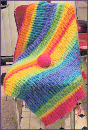 rainbow stripey blanket in progress