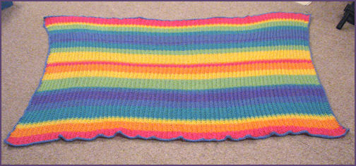 Rainbow striped baby blanket completed