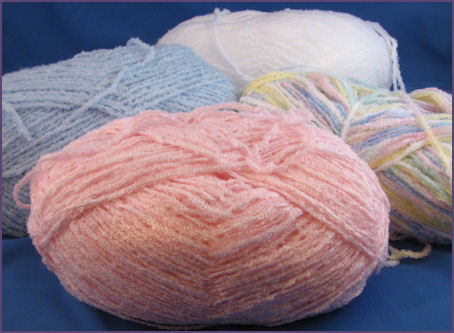 TLC Baby Amore yarn, blue, pink, white, varigated