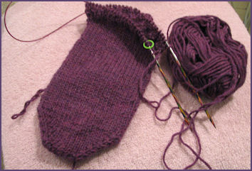 sock on the needles with front side showing