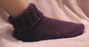 Finished Sock, cuff down