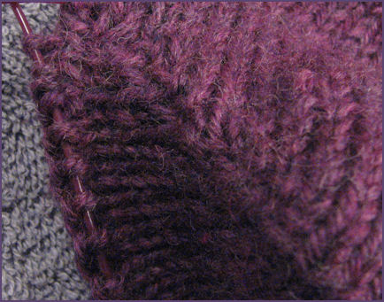 Second Sock, right side of heel