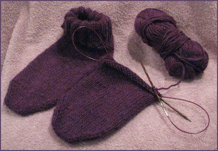 first knit sock next to second sockin progress