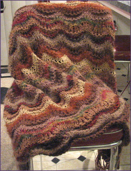 brown ripple blanket in process