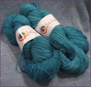 Lisa Souza Sock Merino Yarn, peacock colorway
