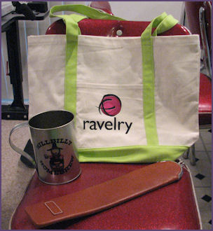 Ravelry Tote Bag, soda Mug, Namaste Needle Case