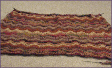 brown ripple afghan in progress