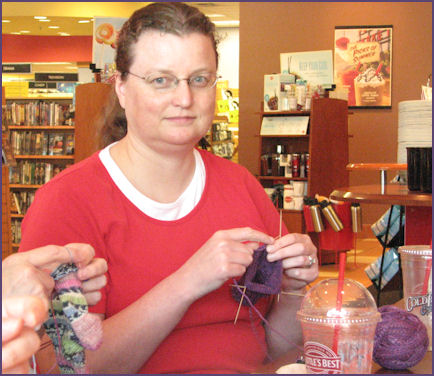 jo knitting socks from her own handspun
