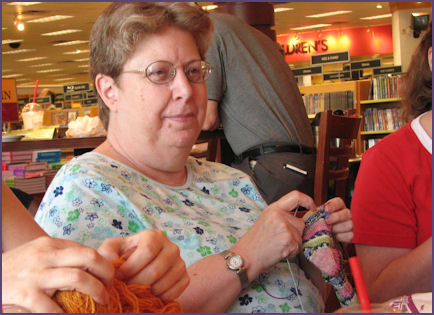 knitting a sock