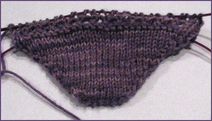 sock toe in progress