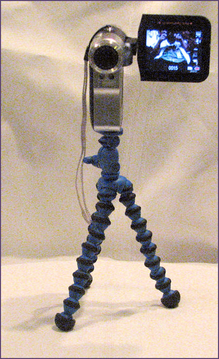 mini video camera on tripod