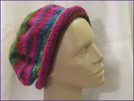 cantaloupe hat completed and displayed on mannequin head