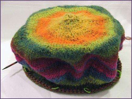 cantaloupe hat almost done except brim