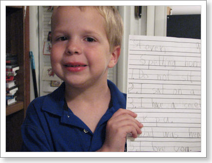first grader finishes spelling homework