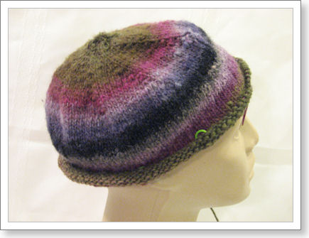 side view of almost finished hat