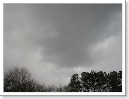 snow clouds hang low and threatening