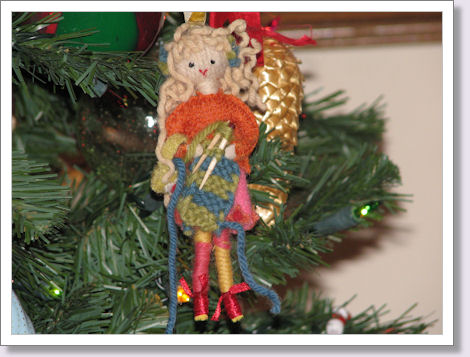 girl knitting ornament
