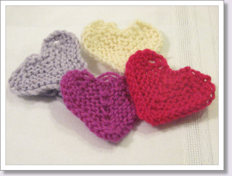 small knit hearts in various colors