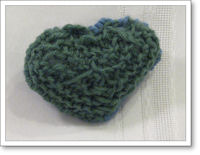 green knitted heart