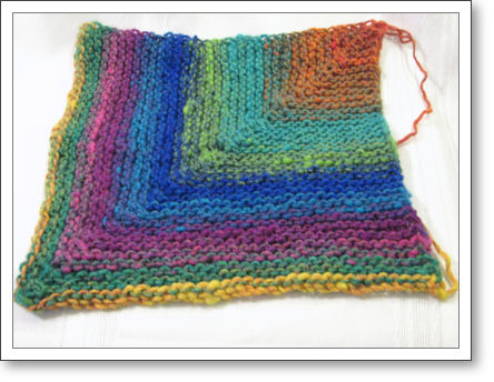 mitered square made with Noro Kureyon yarn