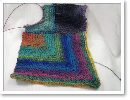 third square in progress on the blanket