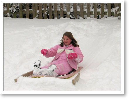 Her Highness the Tween on the sled
