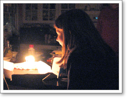 Diana, blowing out candles