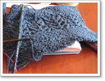swatch for February Lady Sweater with cast on beginnings of sweater