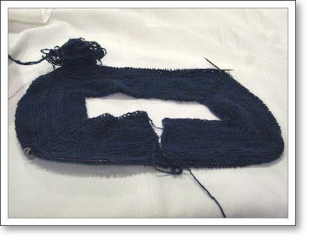 sweater yoke after 5 weeks of knitting