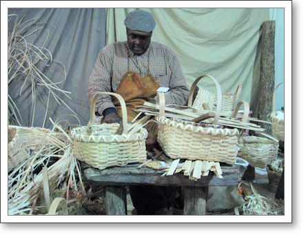 basket weaver in action